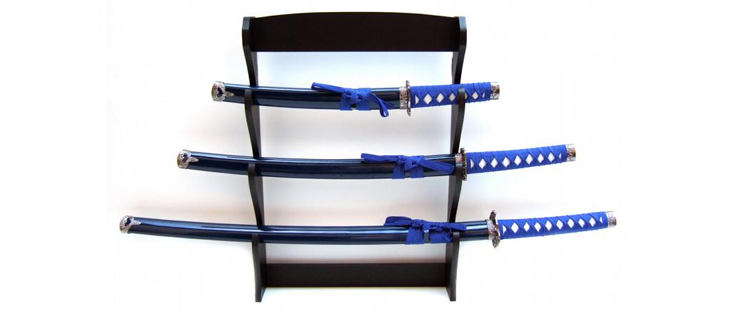 Samurai swords set, quartered, blue with wallhanger 1