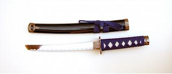 Samurai swords set, quartered, blue with wallhanger 4